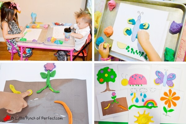 FREE PRINTABLE: SPRING PLAY DOUGH MATS (BUGS, WEATHER, PLANTS): Open-ended design for creative kids.