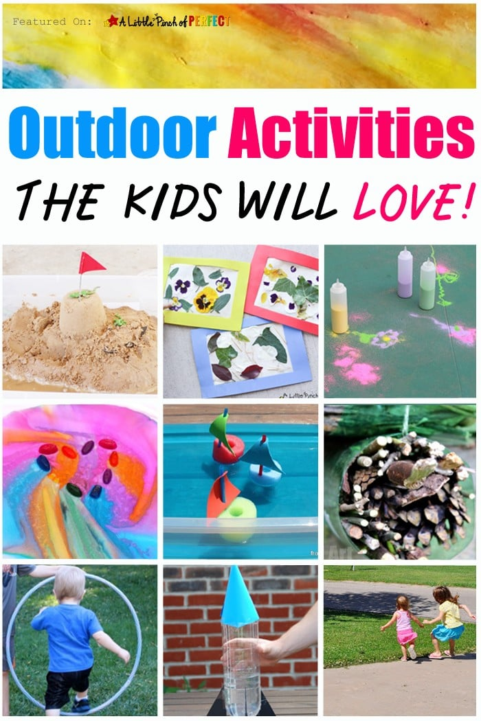 Outdoor Activities the Kids will Love: water play, ice painting, boats, rockets, volcanoes, scavenger hunts, and more!! (summer, spring, kids activities)