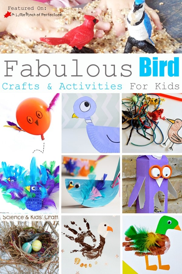 Bird Crafts & Activities for Kids: Bird themed activities like bird seed slime (it's so cool looking!), bird science activities (let's learn!), and bird crafts including a peacock, duck, and eagle.