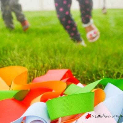Rainbow Ribbon Run! Gross Motor Play for Kids
