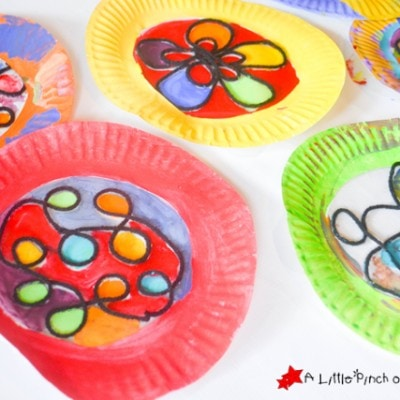 Beautiful Stained Glass Paper Plate Craft for Kids