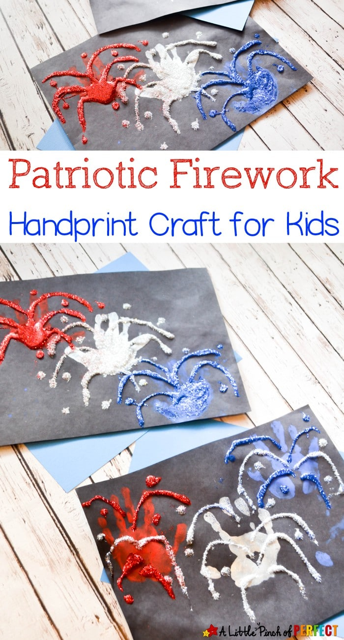 Patriotic Firework Handprint Kids Craft: An adorable handprint craft to make when it's time to celebrate! (4th of July, New Year's)