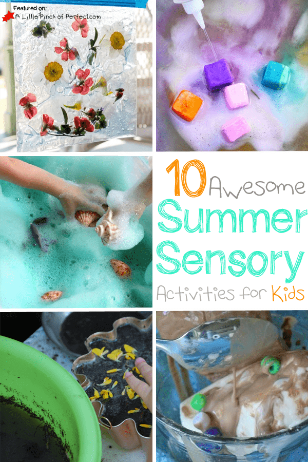 Summer Sensory Play Ideas for Kids (preschool, toddler, ice, sand, flowers and more)
