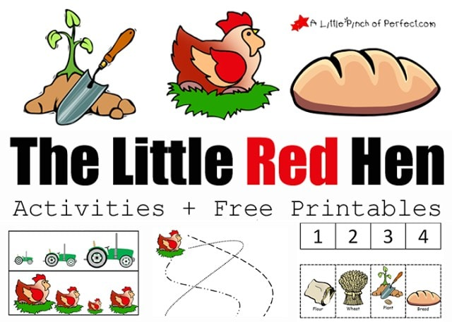 The Little Red Hen Activities and Free Printables: We planted some grain, made some bread, and did some fun free printable activities. The printables work on sequencing, counting, pre-writing, visual discrimination, and includes a page to color on.