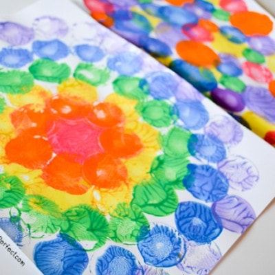 Milk Caps and Lids Squish Painting: Process Art for Kids