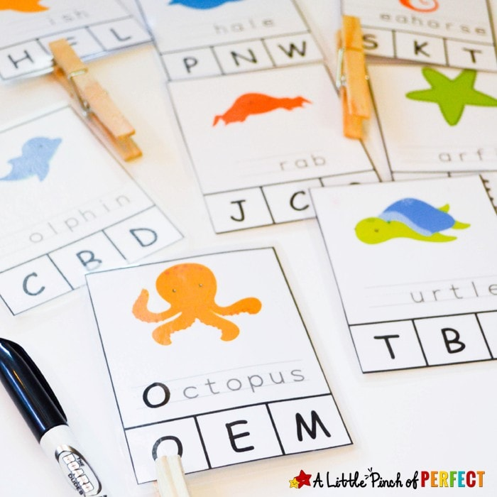 Ocean Animal Free Printable Clip Cards for First Letter Recognition and Writing (preschool, kindergarten, summer, language arts)
