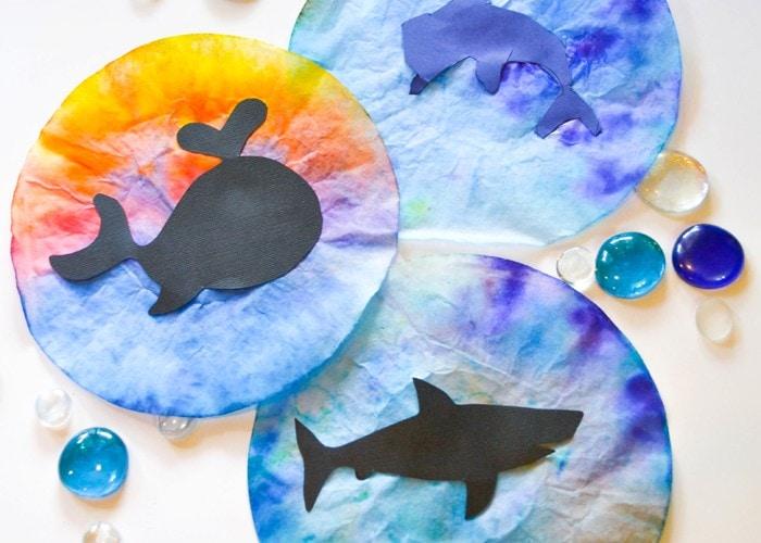 Ocean Animal Coffee Filter Suncatcher Kids Craft and Free Template (summer, ocean, whale, shark, dolphin, kids craft)