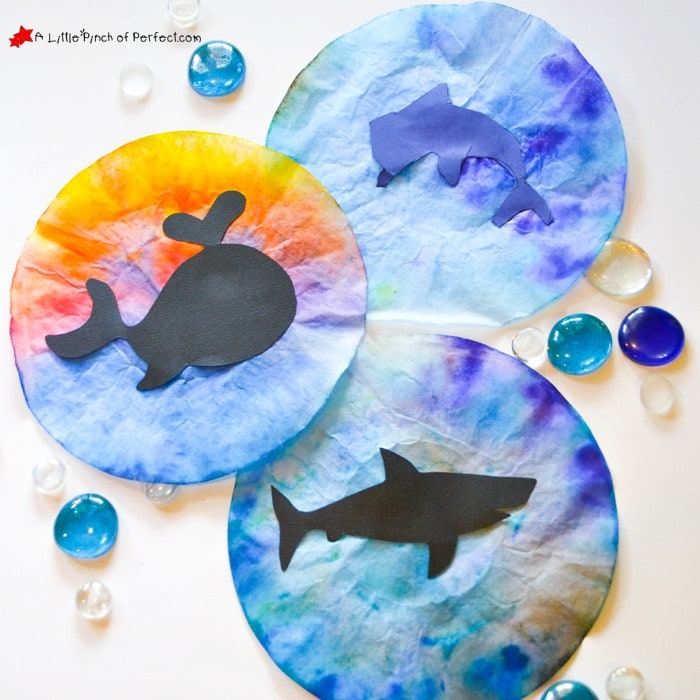 Ocean Animal Coffee Filter Suncatcher Kids Craft and Free Template (summer, ocean, whale, shark, dolphin, kids craft)