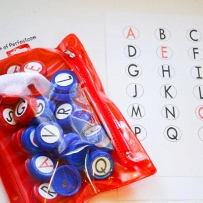 DIY Uppercase Milk Cap Letter Set and Free Printable