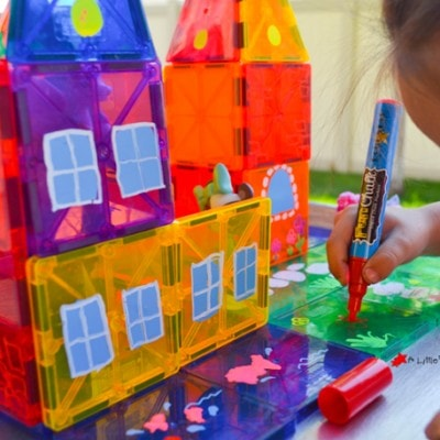 Create Awesome Small Worlds with Fun Chalk and Magnetic Tiles