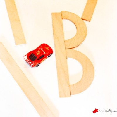 Letter Crash Learning Game with Toy Cars
