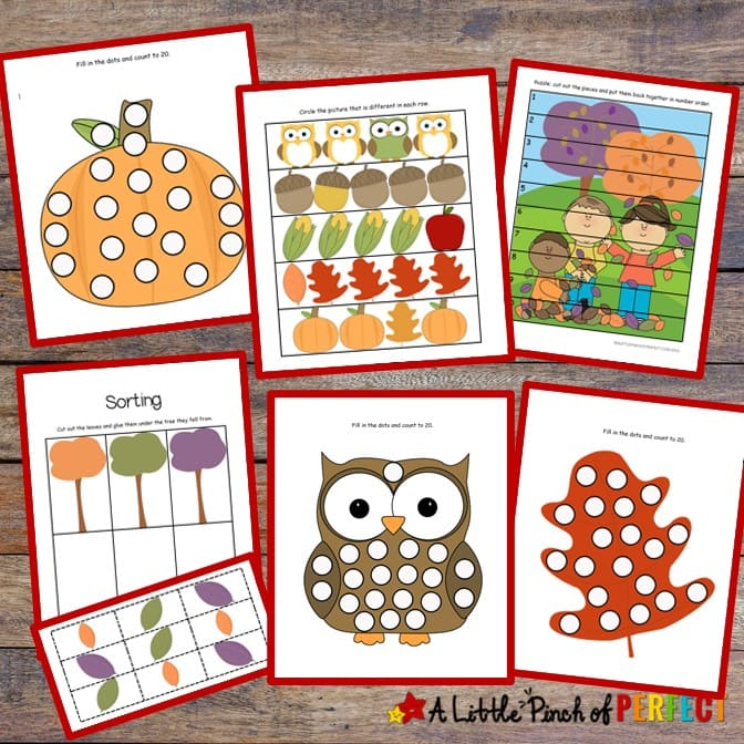 Fall Printable Activity Pack for Kids includes math and language activities to learn counting, sorting, beginning sounds, and more. #preschool #homeschool #kidsactivities