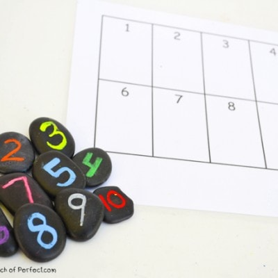Learning Numbers: Simple 10 Frames Activities with Rocks and Printable Chart