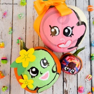 Cute Shopkins No Carve Pumpkin Ideas for Halloween! (Apple Blossom, Lolli Poppins, D'lish Donut)