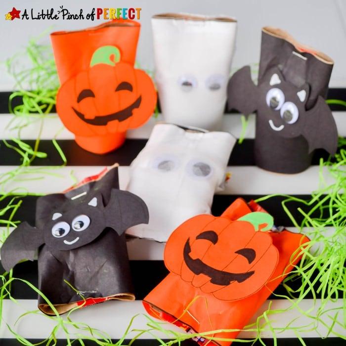 Cardboard Tube Craft: Halloween Candy Holders and Free Printable Template (pumpkin, bat, mummy)