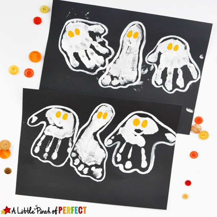 HANDPRINT AND FOOTPRINT HALLOWEEN GHOST CRAFT