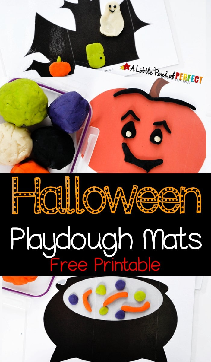 Halloween Playdough Mats Free Printable: Kids can make a grinning pumpkin, a magical spell inside a witch's cauldron, ghosts and ghouls inside a spooky house, and a wiggly spider on a spider web.