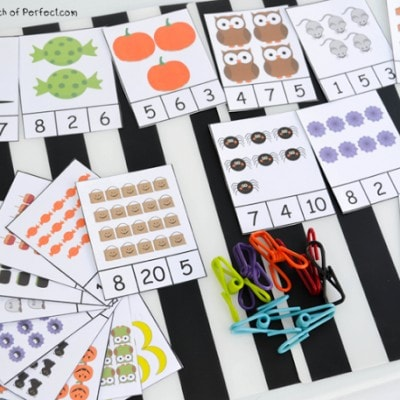 Free Printable Halloween Clip Cards: Counting 1-20