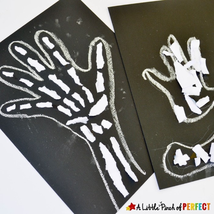Skeleton Bones Ripped Paper Craft for Kids: No scissors are needed for this craft and it's perfect for a Human Anatomy lesson, X is for X ray craft, or spooky Halloween decoration