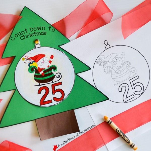 Free Printable Color and Countdown to Christmas Advent Calendar (#coloringpage #adventcalendar #christmas #kidsactivity)