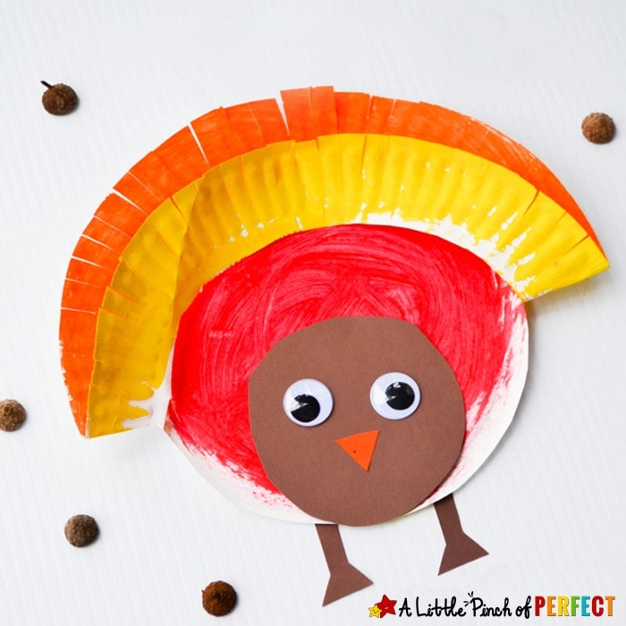 Painted Paper Plate Turkey Craft to Make for Thanksgiving with Kids
