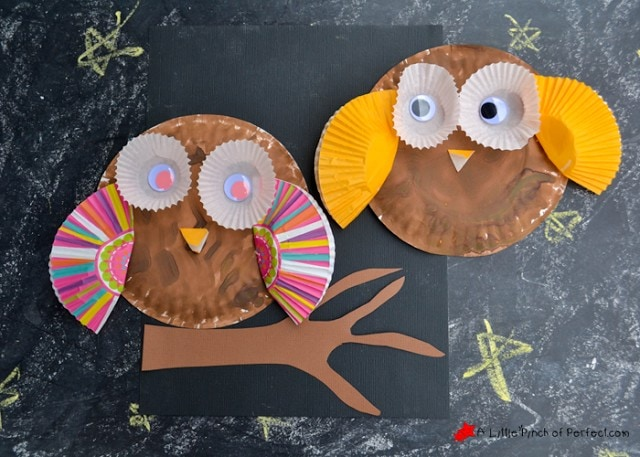 Paper Plate and Cupcake Liner Owl Craft for Kids