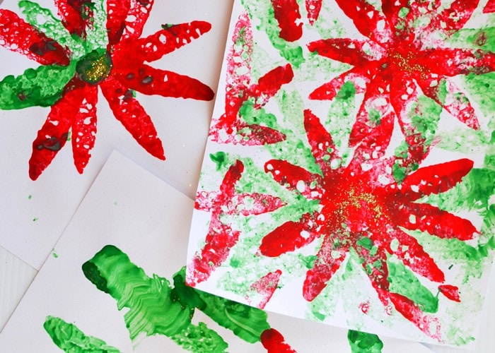 Beautiful Sponge Painted Poinsettias: A Simple Christmas Craft for Kids