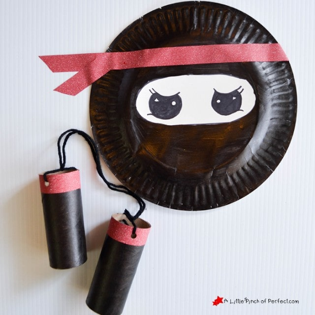 Ninja Paper Plate and Cardboard Tube Craft for Your Little Warrior