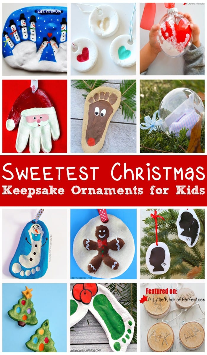 17 of the Sweetest Christmas Keepsake Ornaments for kids to make including handprints, footprints, and photos. (Homemade Gift, December, First Christmas, Kids Craft)