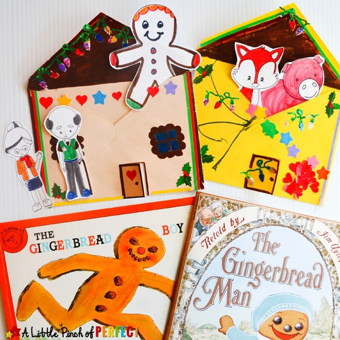 The Gingerbread Man Storytelling Craft and Free Printable: Kids can decorate an envelope to look like a gingerbread house and color, cut, and retell the story with the characters from the book. (December, Kids Activity, Book Extension, Christmas, Preschool, Kindergarten)