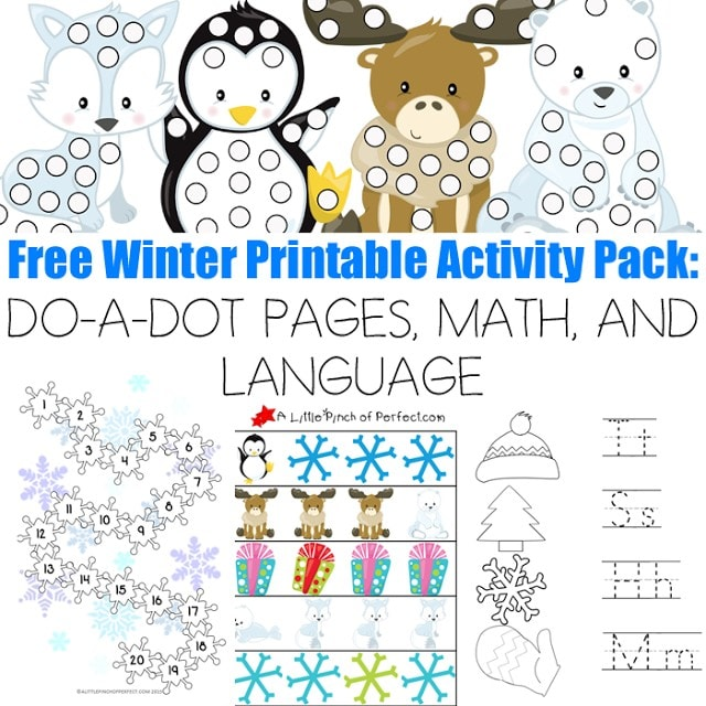 Free Winter Printable Activity Pack: 30 Pages MATH AND LANGUAGE