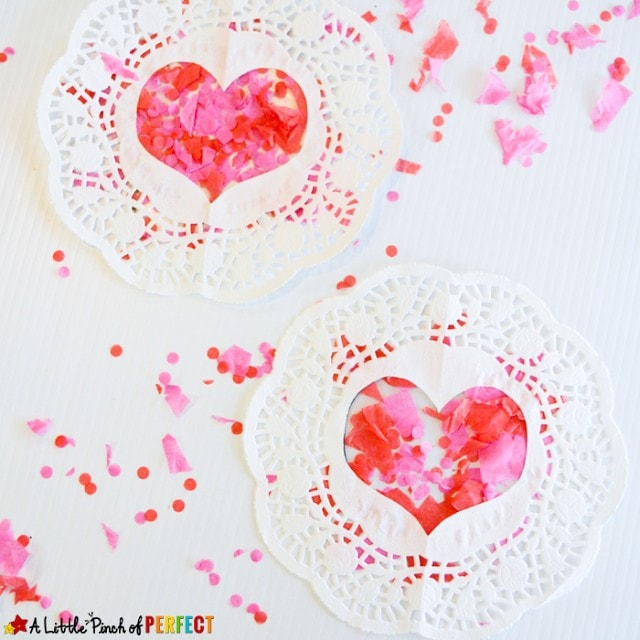 Tissue Paper Heart Doilies Valentine's Craft for Kids
