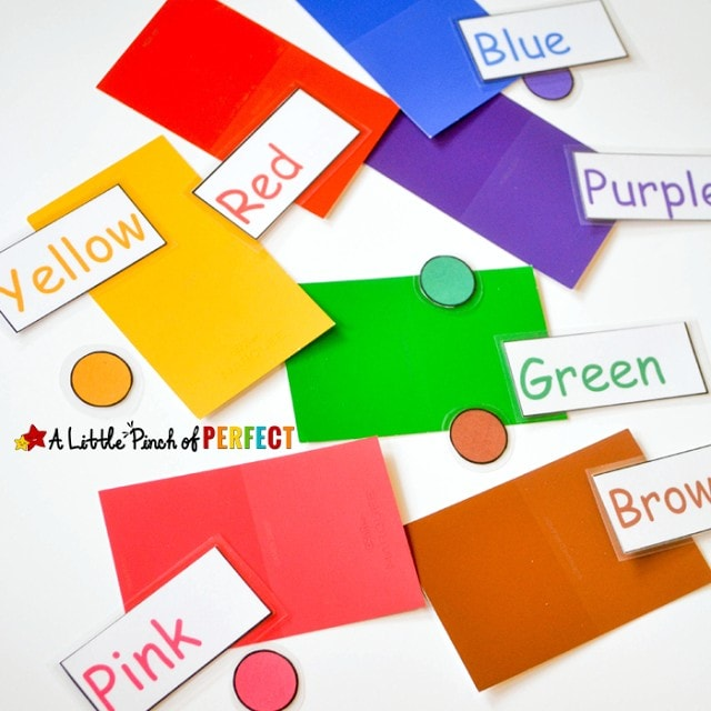 Button Machine Color Learning Game with Free Printable