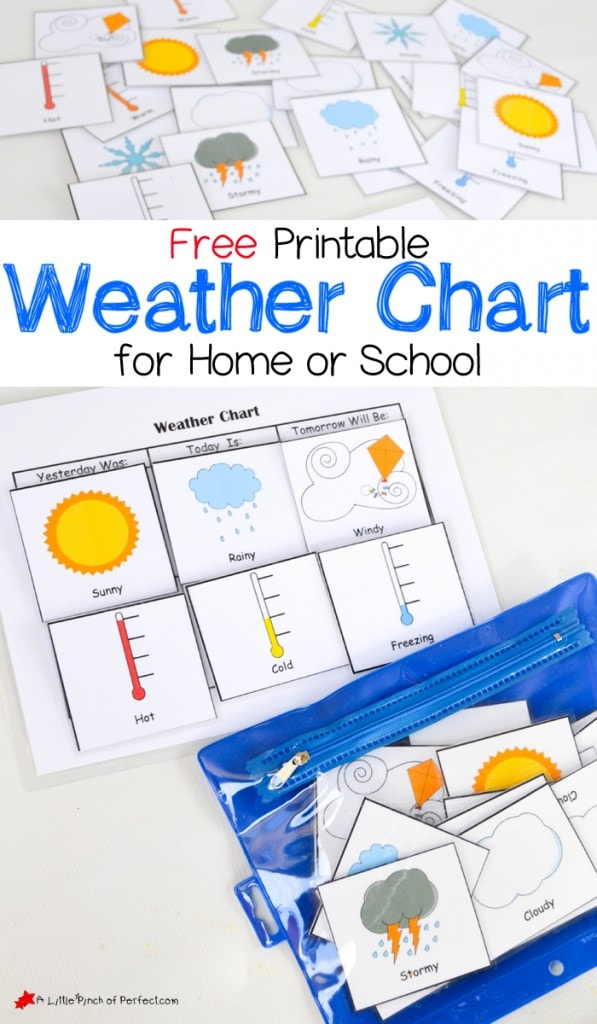 Free Printable Weather Chart for home or school-perfect for hands on learning