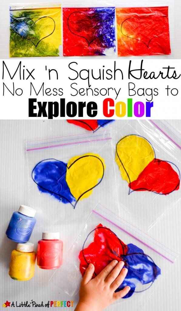 Mix 'n Squish Hearts: Valentine's Day Sensory Bags to Explore Color (Preschool, Toddler, Kindergarten)
