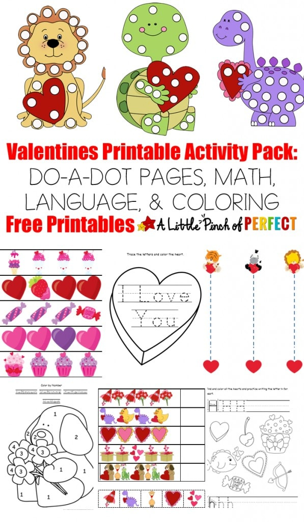 Free Valentine's Day Printable Activity Pack: DO-A-DOT PAGES, MATH, AND LANGUAGE (Preschool, Kindergarten, February, Learning)