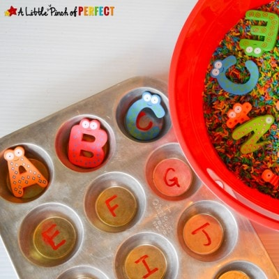 Find and Match Letters: Sensory Bin and Muffin Tin Activity