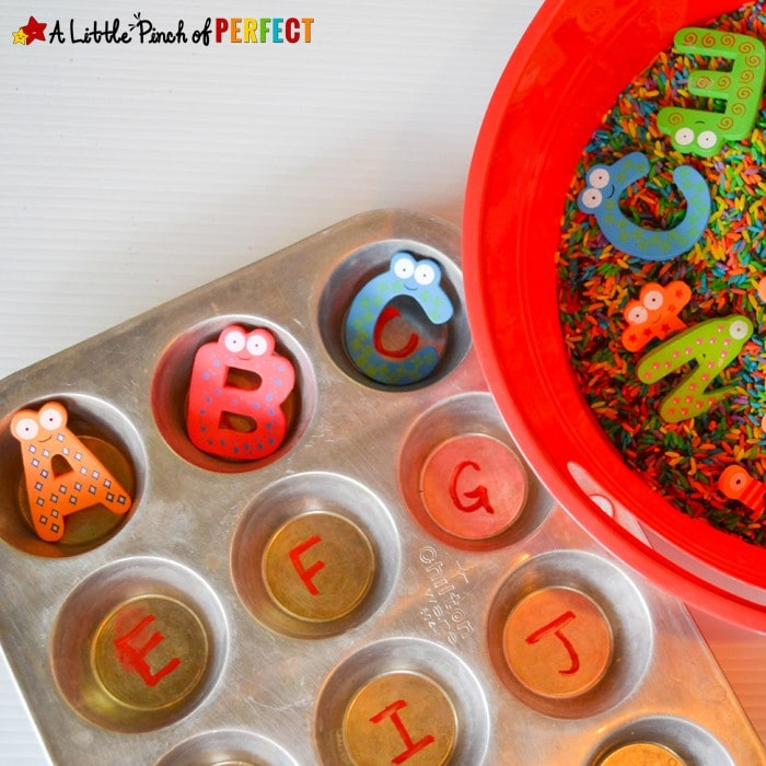 Letter Sensory Bin: ABC Find and Match Activity (By including a muffin tin to the activity it adds another learning opportunity and works as a motivational tool to get all the letters out of the bin)