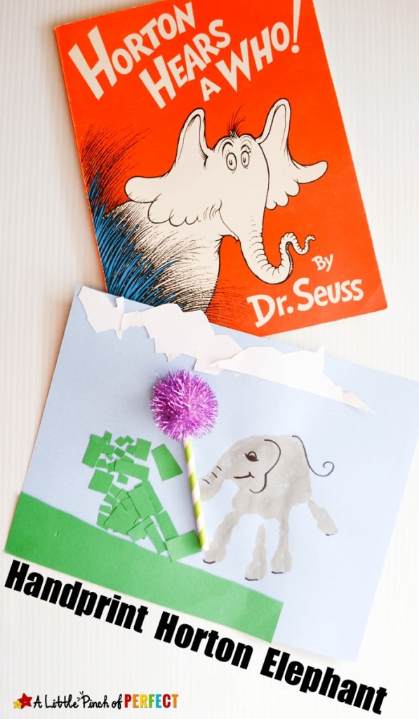 Handprint Horton Elephant Craft with Dr. Seuss: An easy book craft to make with kids while enjoying Dr. Seuss day or learning about elephants