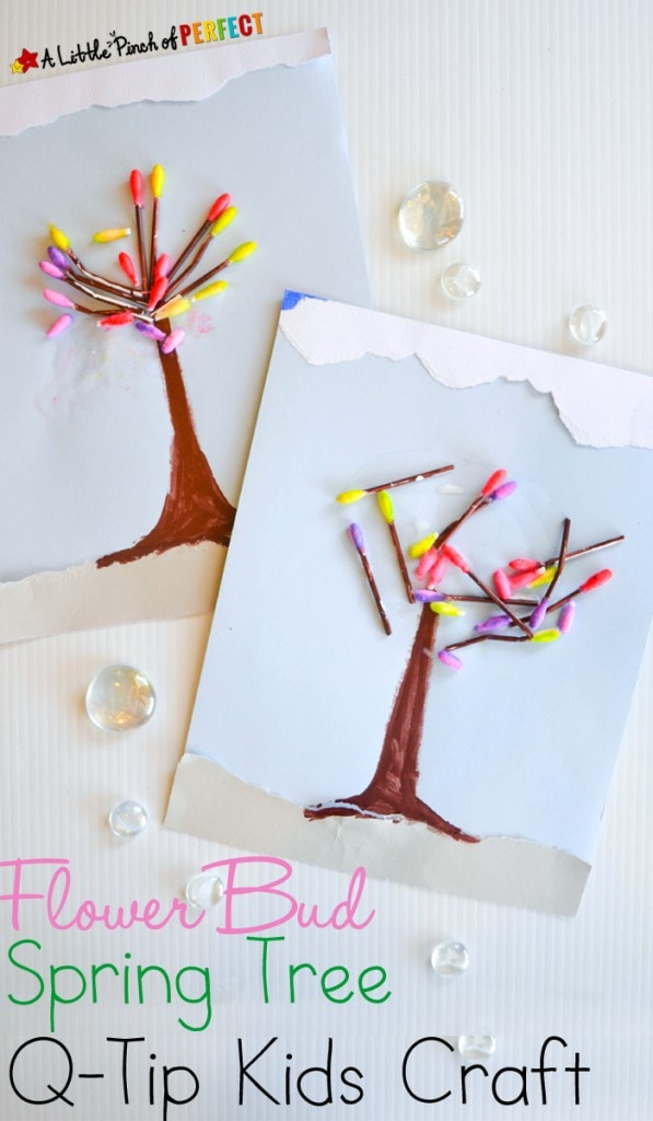 Q-Tip Painted Spring Tree Kids Craft: a clever way to make a budding spring tree