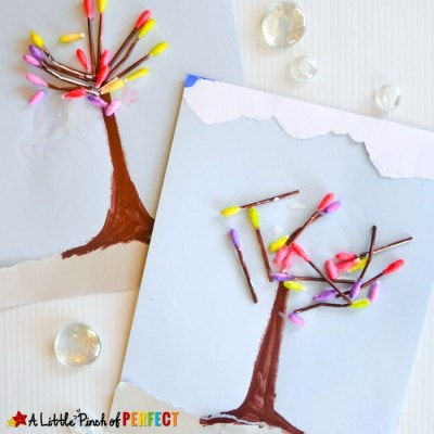 Spring Tree Flower Bud Kid Craft with Q-Tips