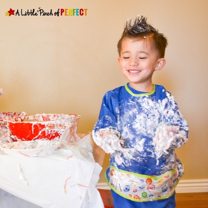 Rainbow Noodles and Fluffy Clouds Sensory Activity: Shaving Cream Sensory fun perfect for spring, learning about weather, or having some St. Patrick's Day fun with the kids.