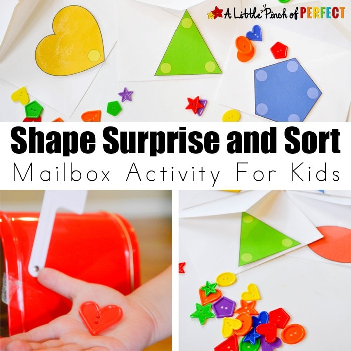 Shapes Sort Mailbox Activity: There is something irresistibly fun about opening a mailbox and finding something inside. Use different types of objects like buttons, toys, letters, numbers, and shapes to match any learning theme.