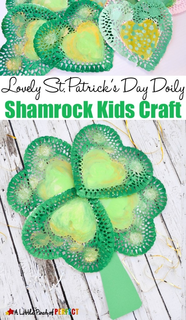 Lovely St. Patrick's Day Shamrock Craft for Kids: Easy to make four leaf clover craft with doilies or paper hearts