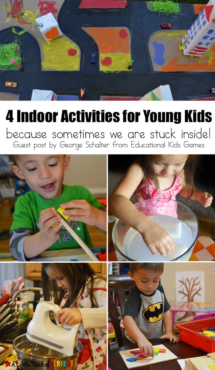 4 Indoor Activities for Young Kids: Things to do when kids are recovering from an illness, the outside is too hot/cold/rainy for outdoor play, or the day the kids want to stay inside instead of go out.