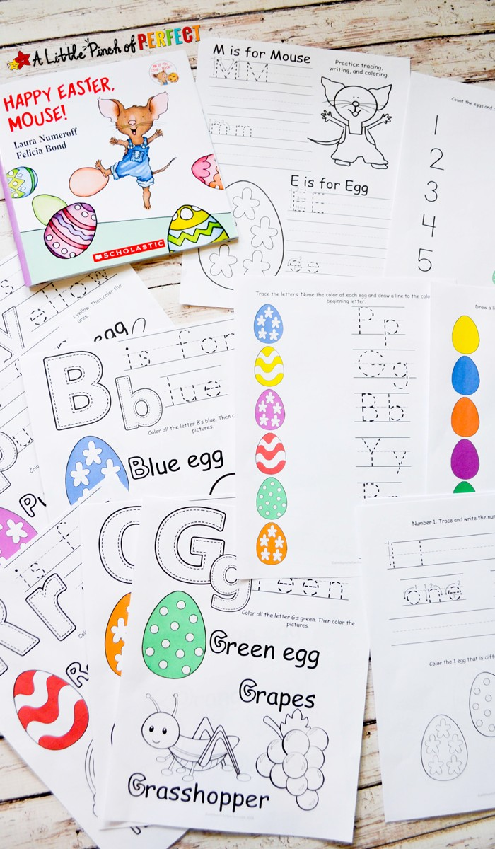 Happy Easter Mouse Free Printable Pack: Printable includes coloring pages, pre-writing, numbers, colors, and letters.