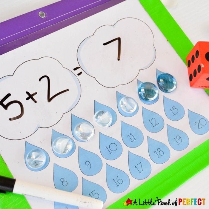 Rain Cloud Free Printable Math Mat: Create easy math activities for spring or weather units. Perfect for practicing counting, addition, subtraction, one to one correspondence and number recognition.