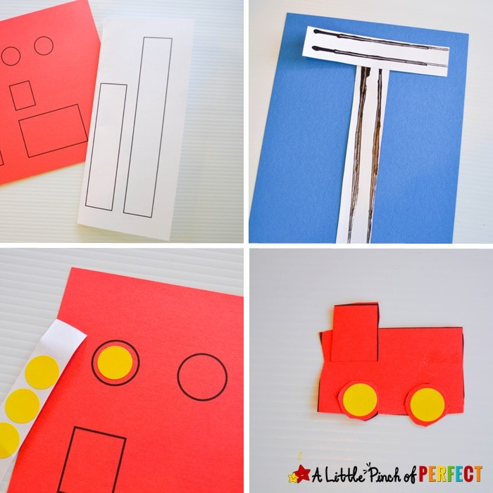 Letter of the Week A-Z Series: T is for Train Activities and Crafts for Kids: Simple hands on learning activities you can do with a box of trains (letter craft, letter formation, fine motor skills, sequencing, and sorting)