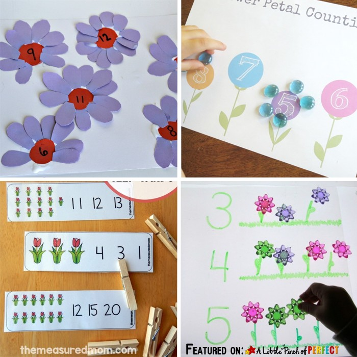 12 Brilliant May Flower Math Activities for Kids Perfect for Spring: Counting, Number Recognition, Fractions, Number Lines, Free printables, and more. (preschool, kindergarten)