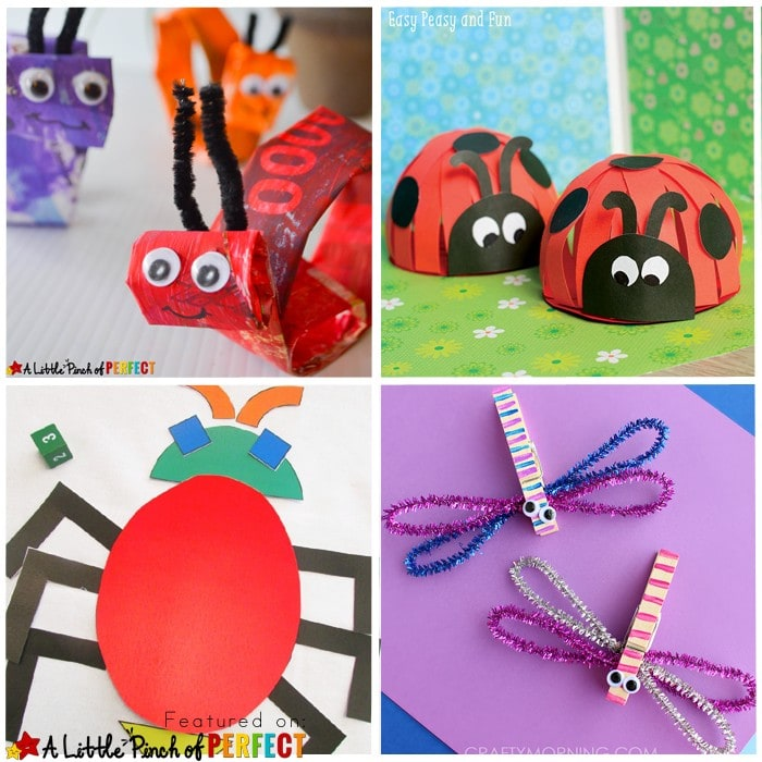 16 Creative Ways to Make Bug Crafts with Kids: Including butterflies, bees, and ladybugs to the more obscure bugs like worms, snails, and crickets--this collection has got you covered!